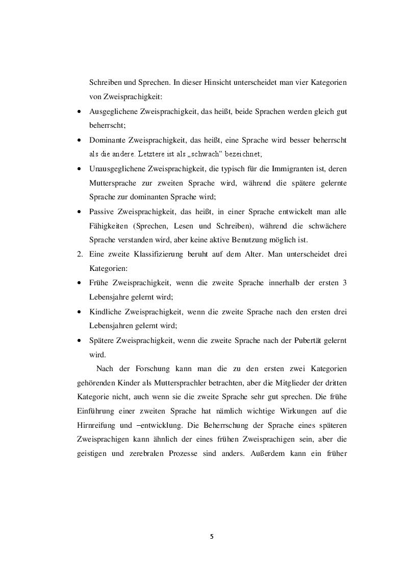 Anteprima della tesi: Die Zweisprachigkeit: Eine Ressource in der frühen Kindheit, Pagina 4