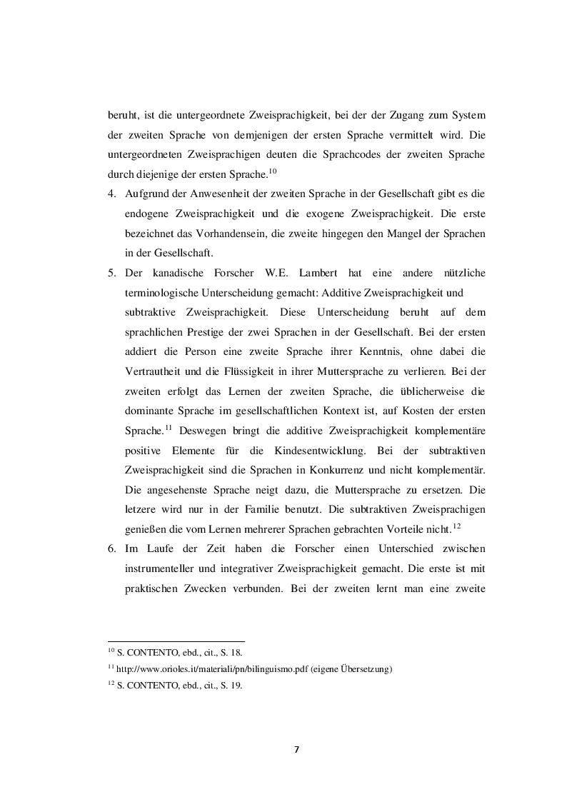 Anteprima della tesi: Die Zweisprachigkeit: Eine Ressource in der frühen Kindheit, Pagina 6