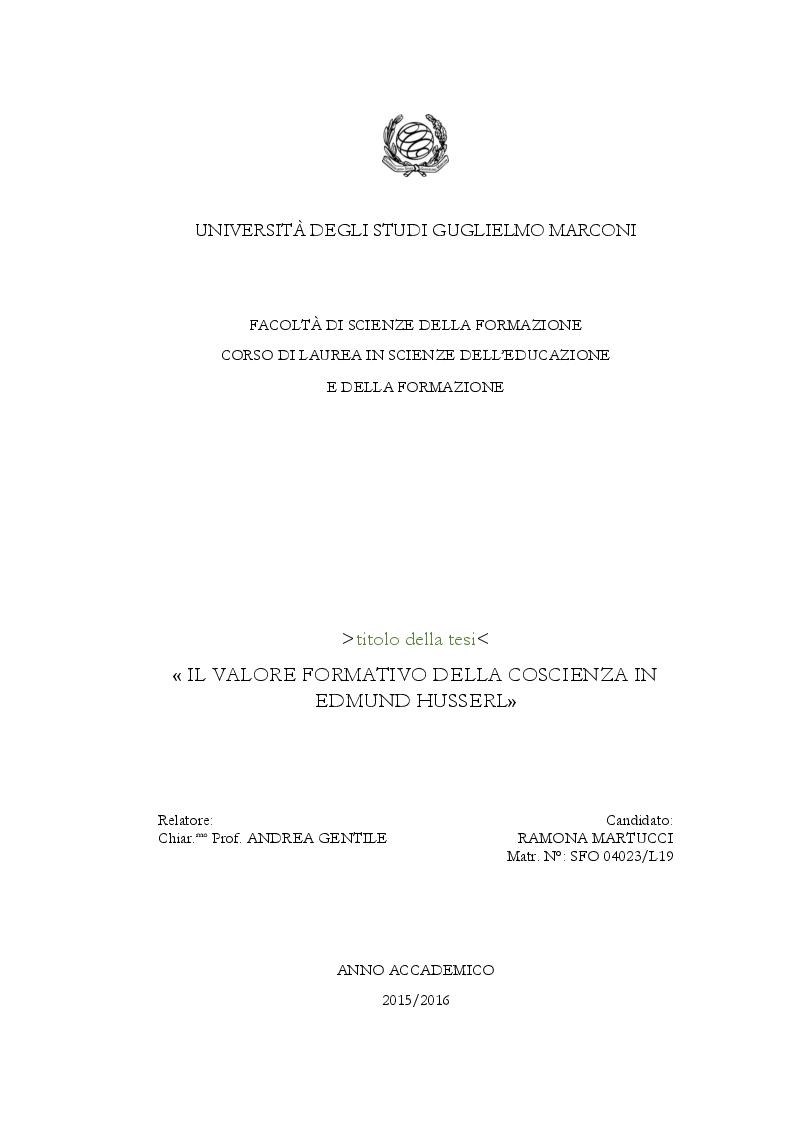 Anteprima della tesi: Il valore formativo della coscienza in Edmund Husserl , Pagina 1