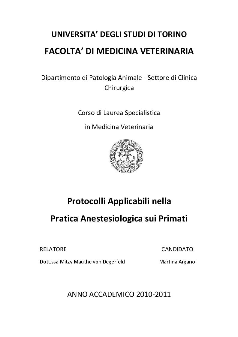 Anteprima della tesi: Protocolli applicabili nella pratica anestesiologica sui primati, Pagina 1
