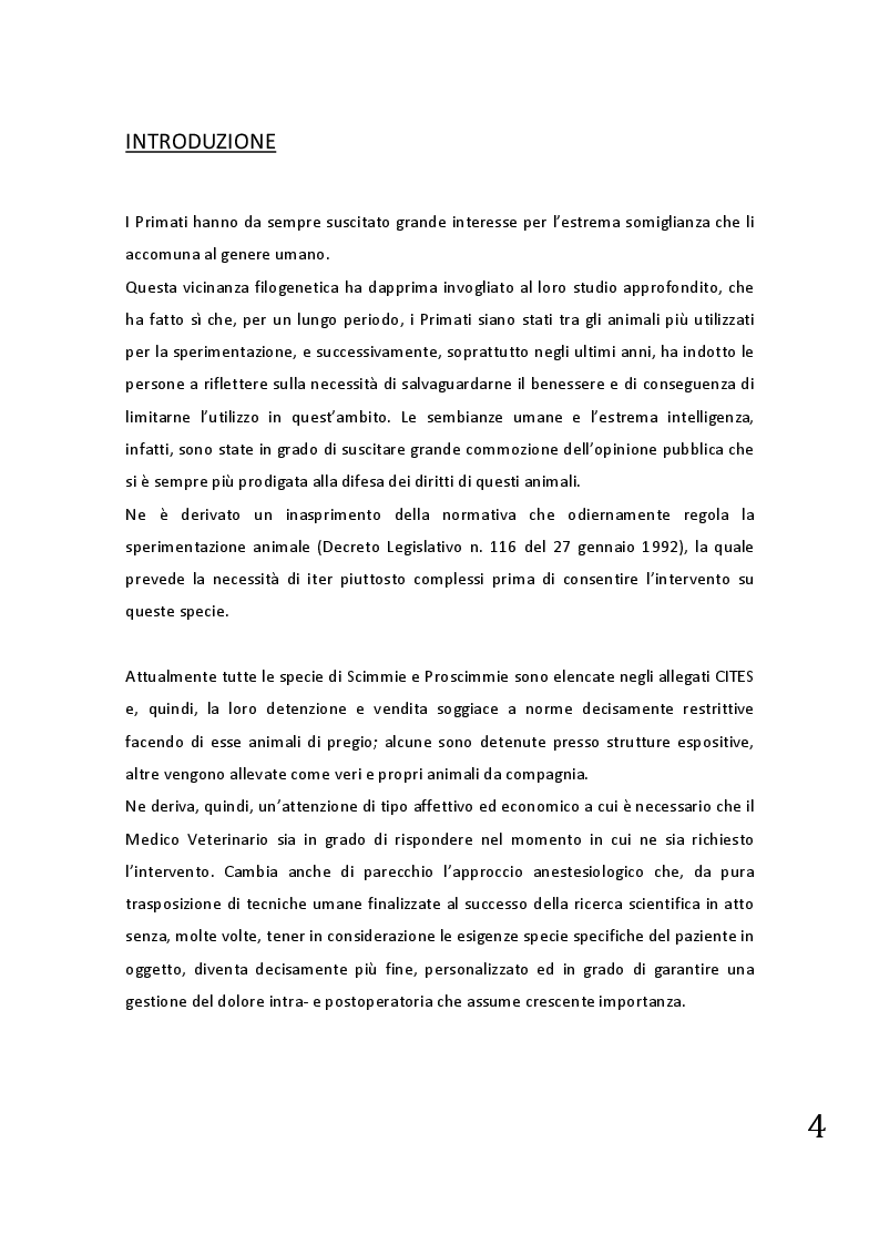 Anteprima della tesi: Protocolli applicabili nella pratica anestesiologica sui primati, Pagina 2