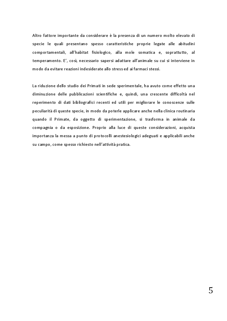Anteprima della tesi: Protocolli applicabili nella pratica anestesiologica sui primati, Pagina 3