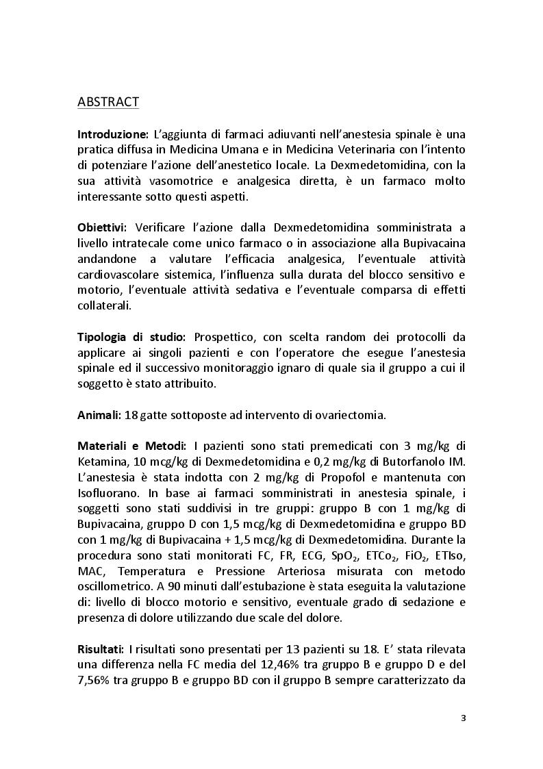 Anteprima della tesi: Effetti Analgesici e Cardiovascolari della Dexmedetomidina in Somministrazione Intratecale nel Gatto, Pagina 2