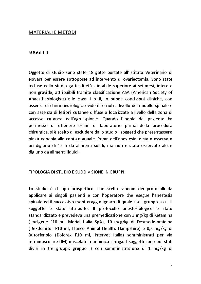 Anteprima della tesi: Effetti Analgesici e Cardiovascolari della Dexmedetomidina in Somministrazione Intratecale nel Gatto, Pagina 6