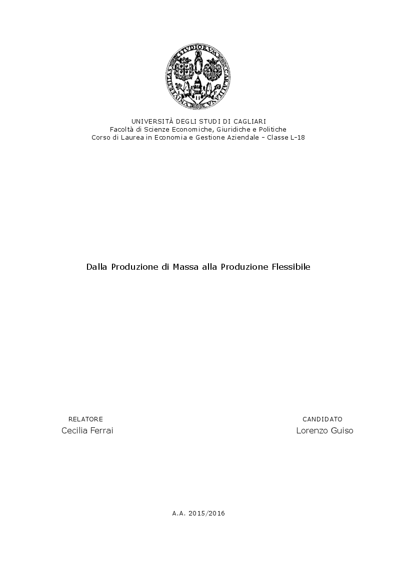 Anteprima della tesi: Dalla Produzione di Massa alla Produzione Flessibile, Pagina 1