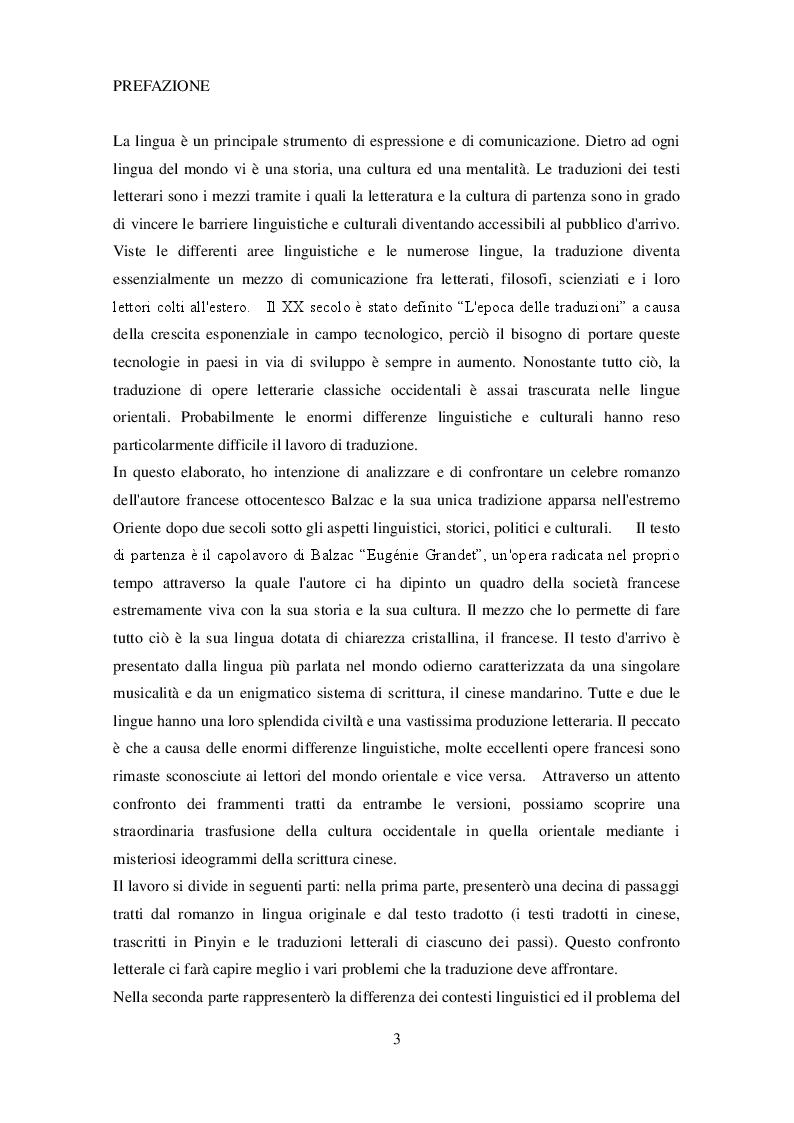 Anteprima della tesi: Eugènie Grandet sotto cieli lontani - Confronto tra il romanzo originale di Balzac e la traduzione in lingua cinese, Pagina 2