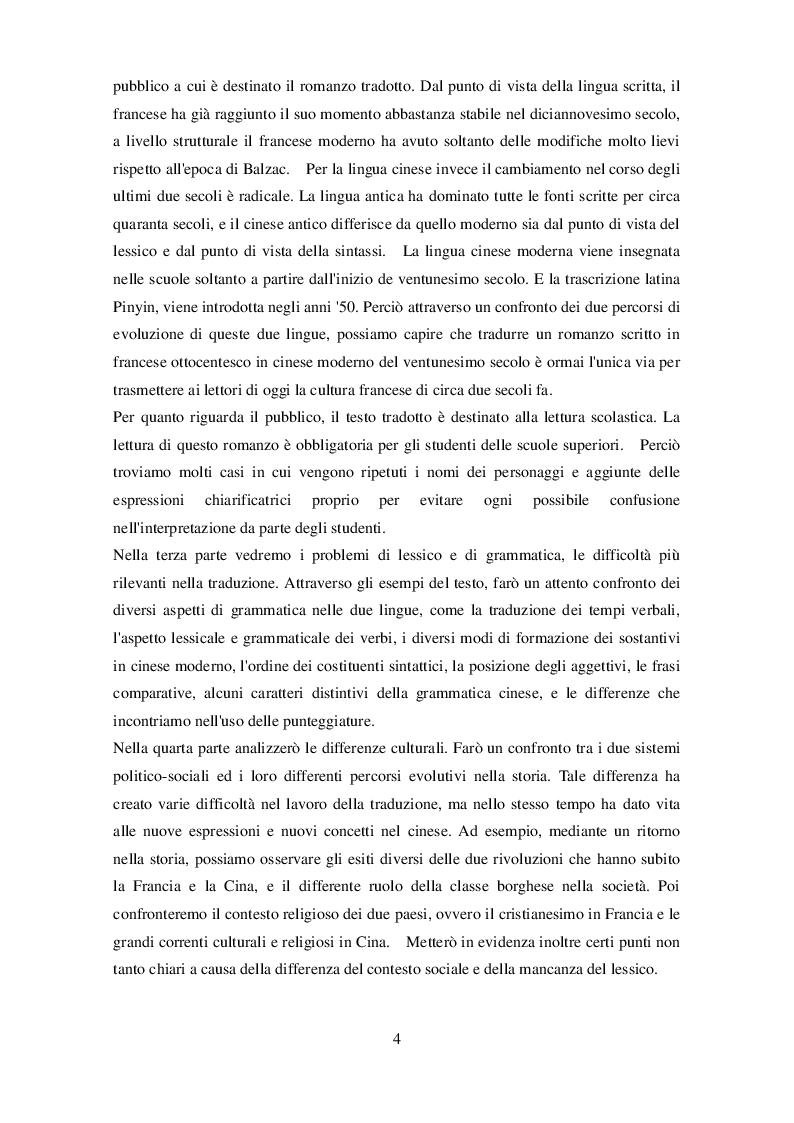 Anteprima della tesi: Eugènie Grandet sotto cieli lontani - Confronto tra il romanzo originale di Balzac e la traduzione in lingua cinese, Pagina 3