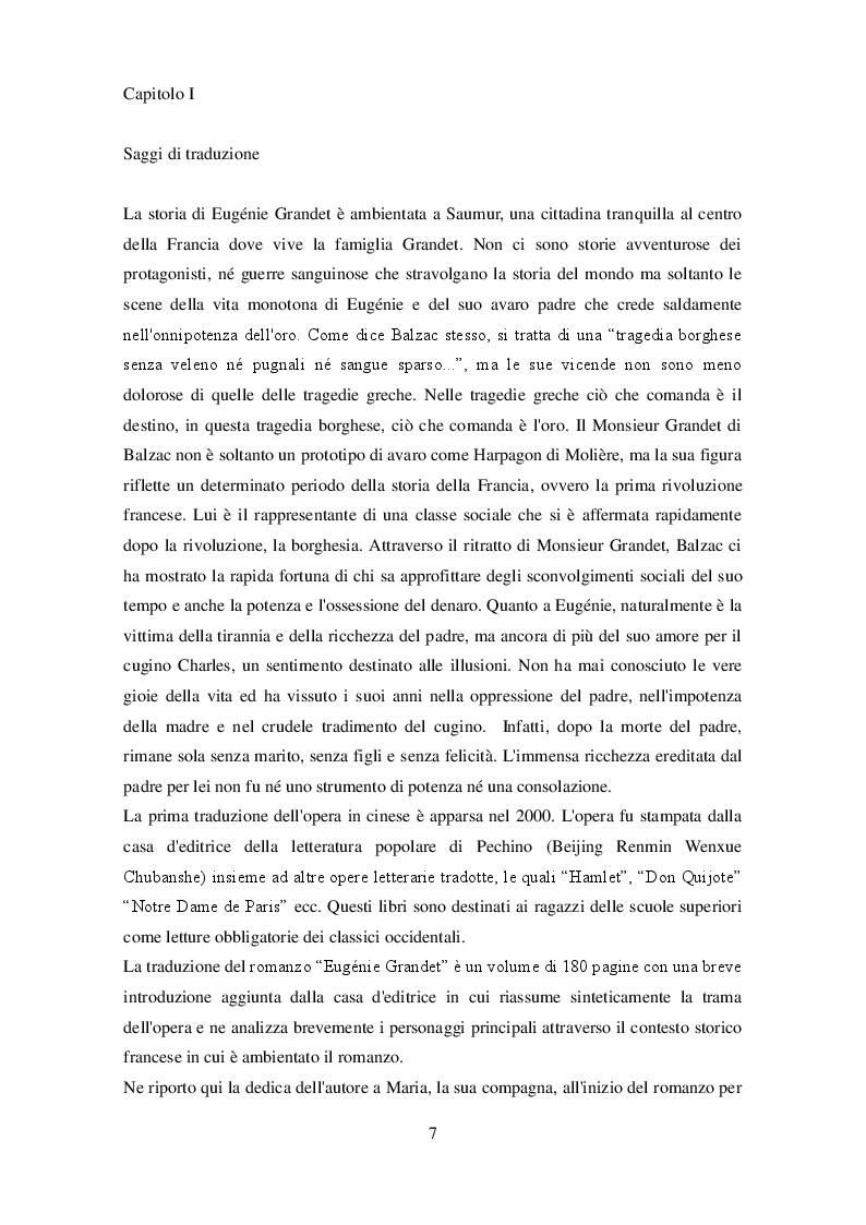 Anteprima della tesi: Eugènie Grandet sotto cieli lontani - Confronto tra il romanzo originale di Balzac e la traduzione in lingua cinese, Pagina 5