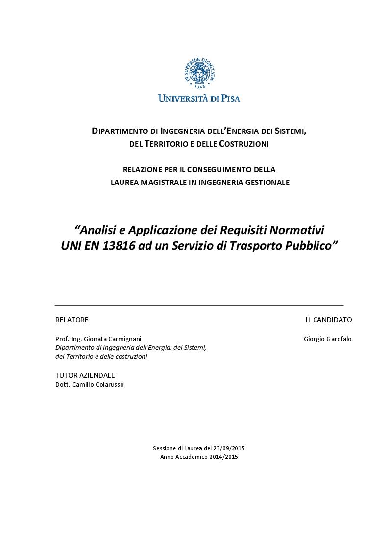 Anteprima della tesi: Analisi e Applicazione dei requisiti normativi UNI EN 13816 ad un servizio di trasporto pubblico, Pagina 1