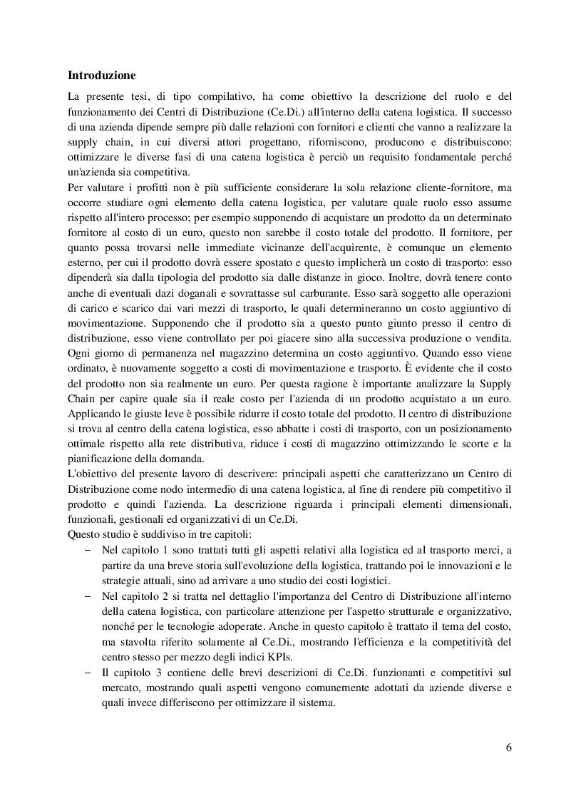 Anteprima della tesi: Il ruolo del Ce.Di. in una Supply Chain: analisi dei principali aspetti gestionali e organizzativi che influenzano l'efficienza e la competitività di una azienda, Pagina 2