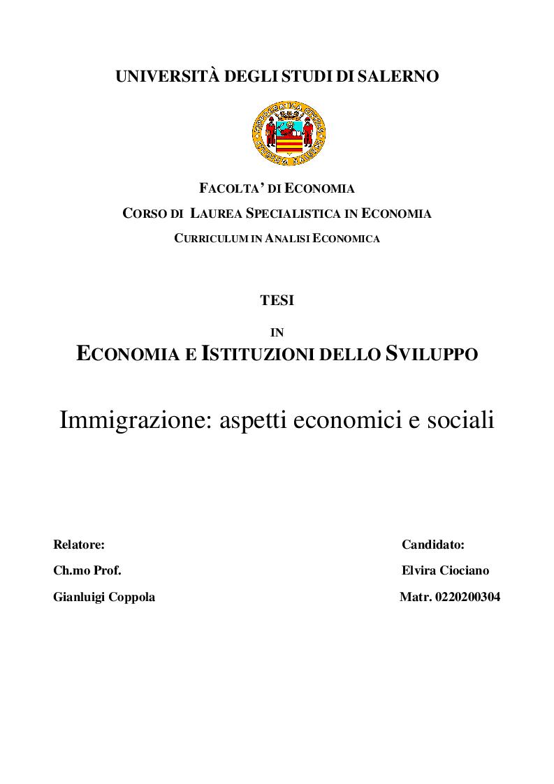 Anteprima della tesi: Immigrazione: aspetti economici e sociali, Pagina 1