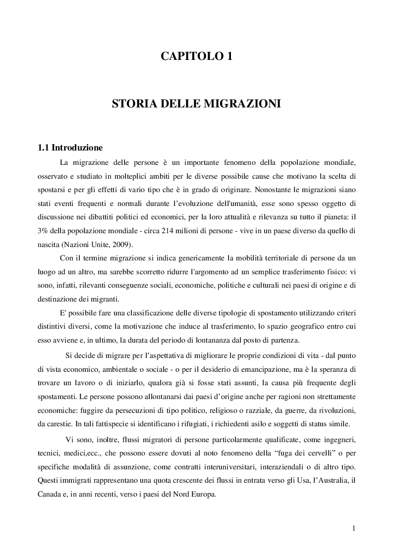 Anteprima della tesi: Immigrazione: aspetti economici e sociali, Pagina 3