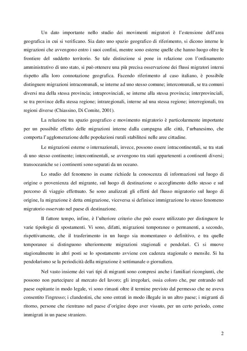Anteprima della tesi: Immigrazione: aspetti economici e sociali, Pagina 4