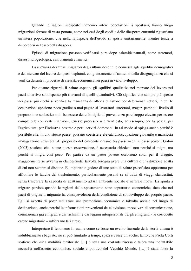 Anteprima della tesi: Immigrazione: aspetti economici e sociali, Pagina 5