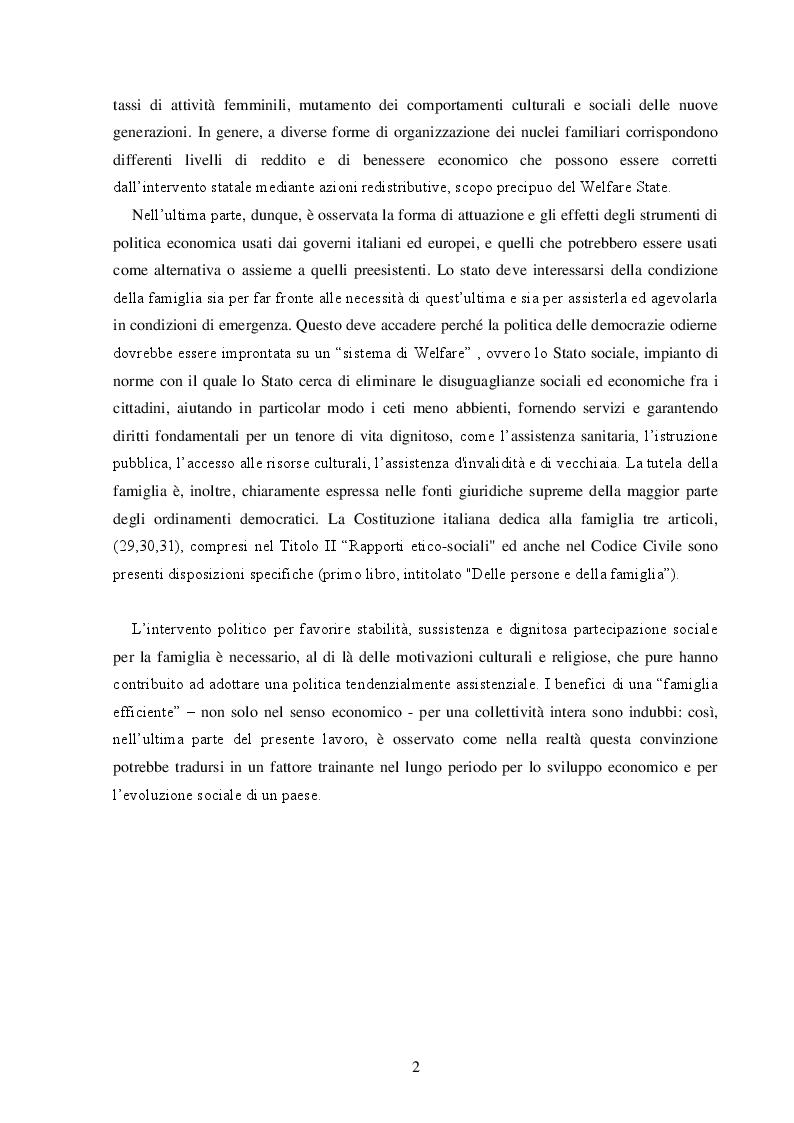 Anteprima della tesi: La Famiglia: un soggetto economico, Pagina 3