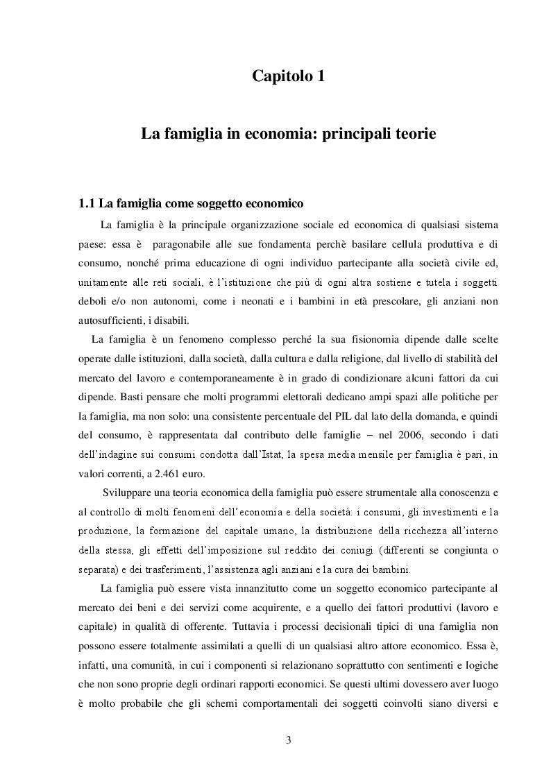 Anteprima della tesi: La Famiglia: un soggetto economico, Pagina 4