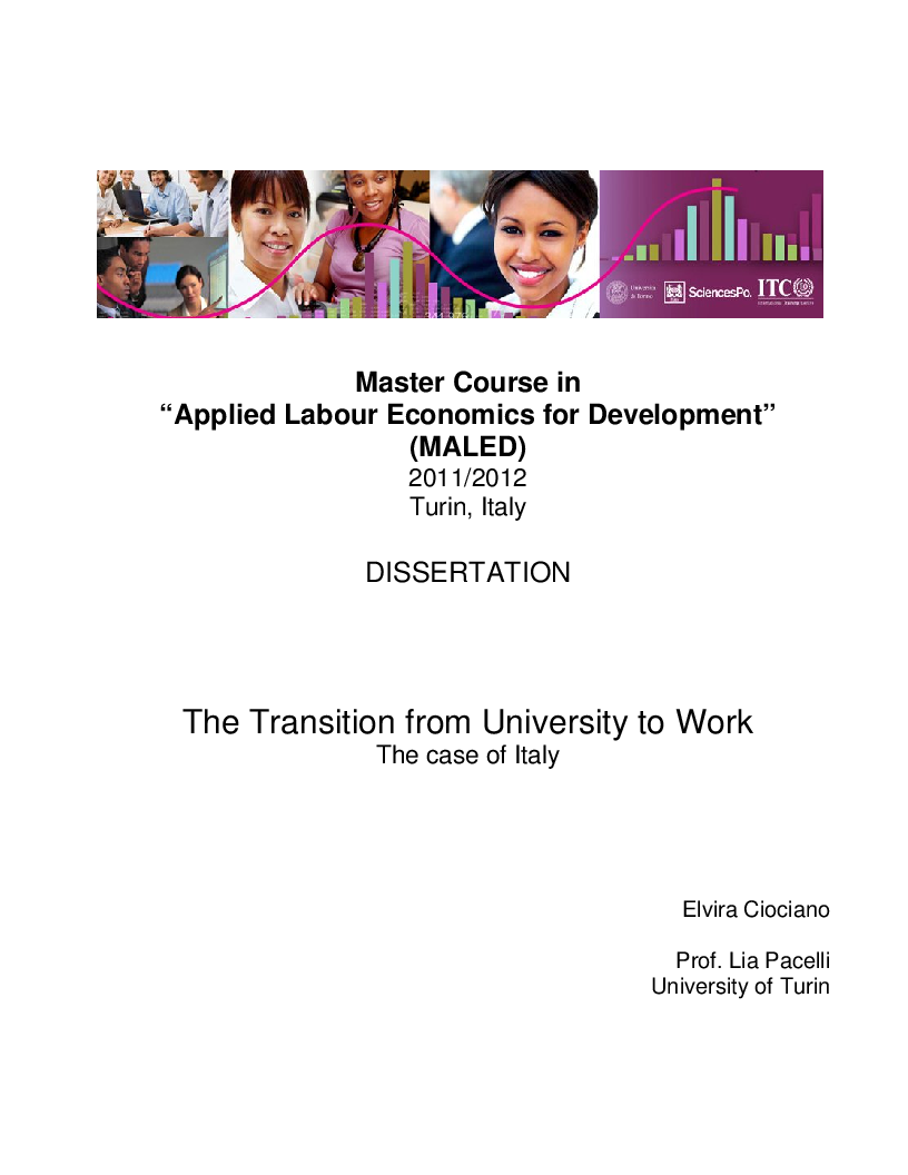Anteprima della tesi: The Transition from University to Work - The case of Italy, Pagina 1
