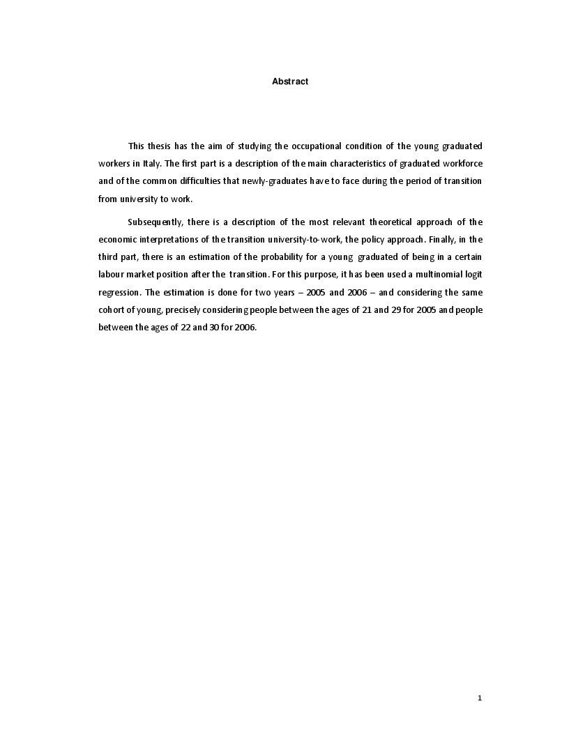 Anteprima della tesi: The Transition from University to Work - The case of Italy, Pagina 2