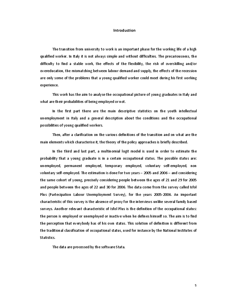 Anteprima della tesi: The Transition from University to Work - The case of Italy, Pagina 3