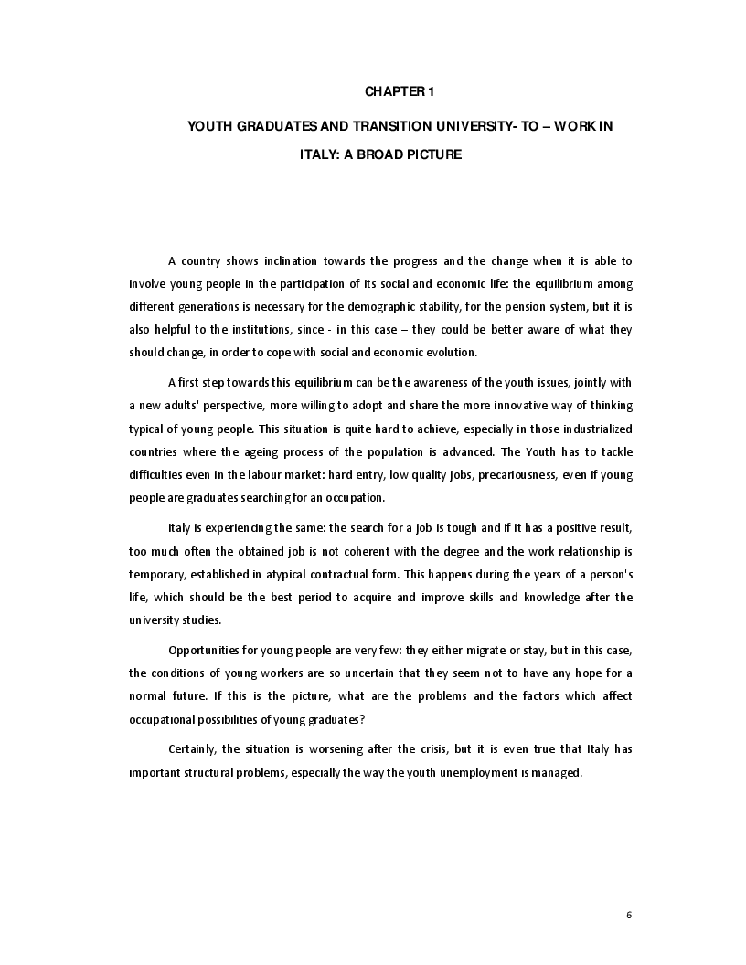 Anteprima della tesi: The Transition from University to Work - The case of Italy, Pagina 4