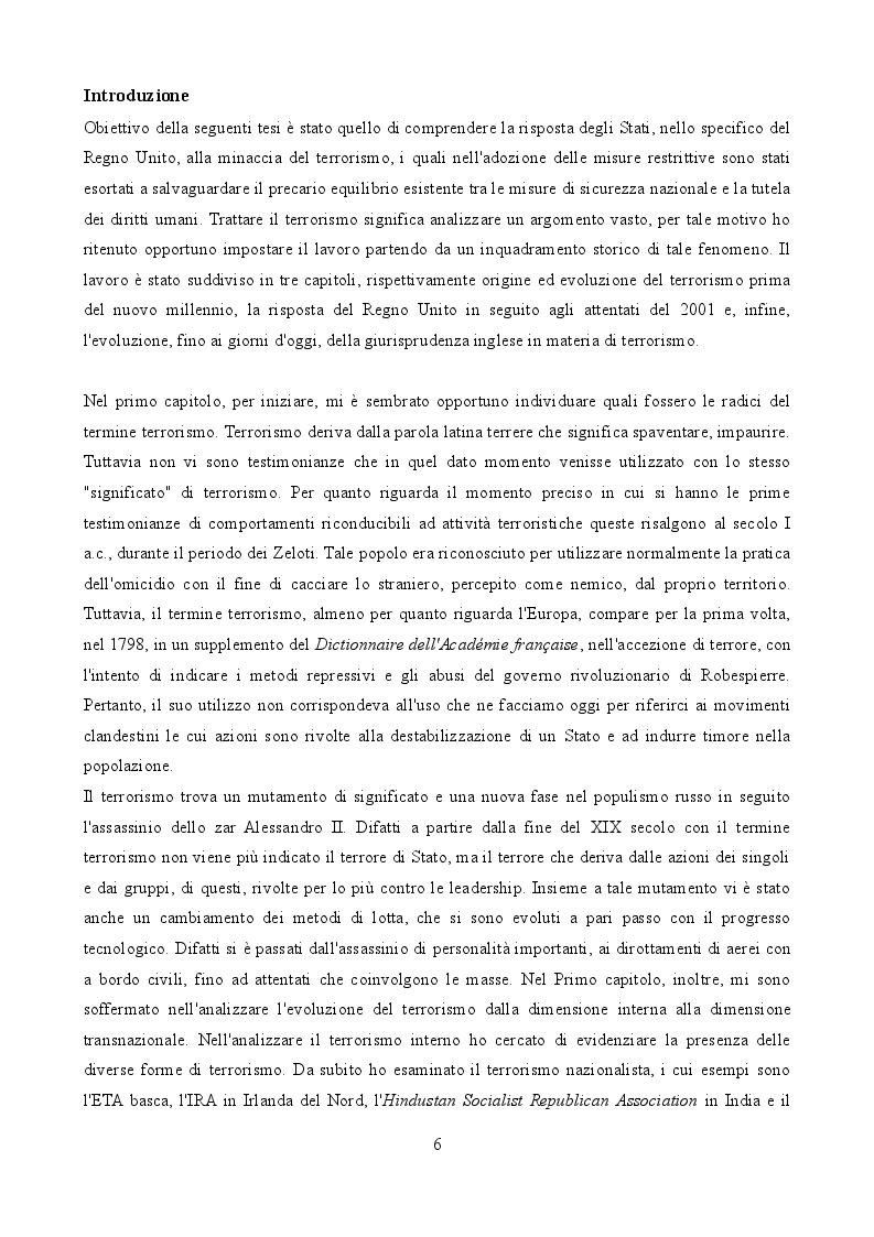 Anteprima della tesi: La legislazione anti-terrorismo nel Regno Unito tra sicurezza pubblica e tutela dei diritti umani, Pagina 2