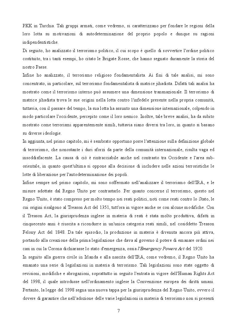 Anteprima della tesi: La legislazione anti-terrorismo nel Regno Unito tra sicurezza pubblica e tutela dei diritti umani, Pagina 3