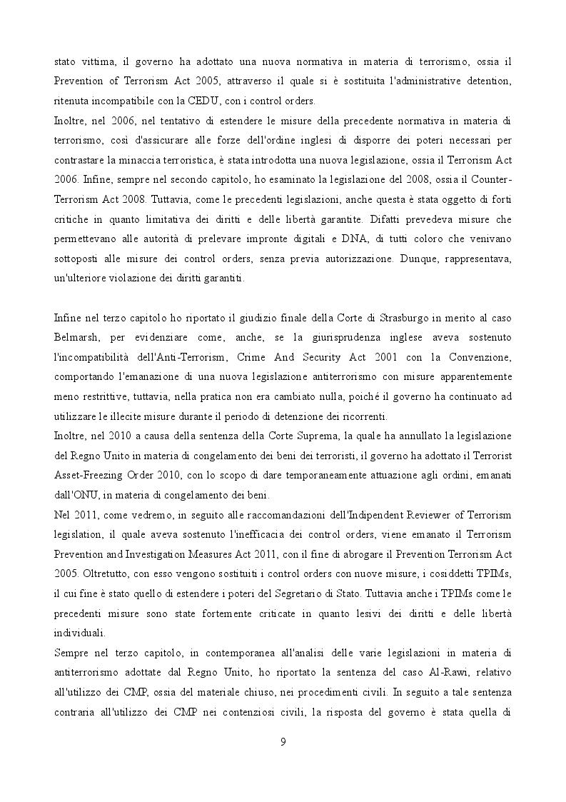 Anteprima della tesi: La legislazione anti-terrorismo nel Regno Unito tra sicurezza pubblica e tutela dei diritti umani, Pagina 5