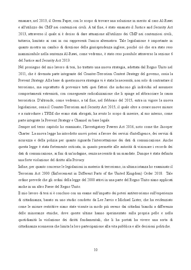 Anteprima della tesi: La legislazione anti-terrorismo nel Regno Unito tra sicurezza pubblica e tutela dei diritti umani, Pagina 6