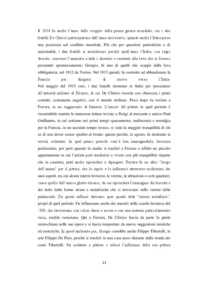 Estratto dalla tesi: Storiografia artistica e Giorgio de Chirico: il periodo parigino.