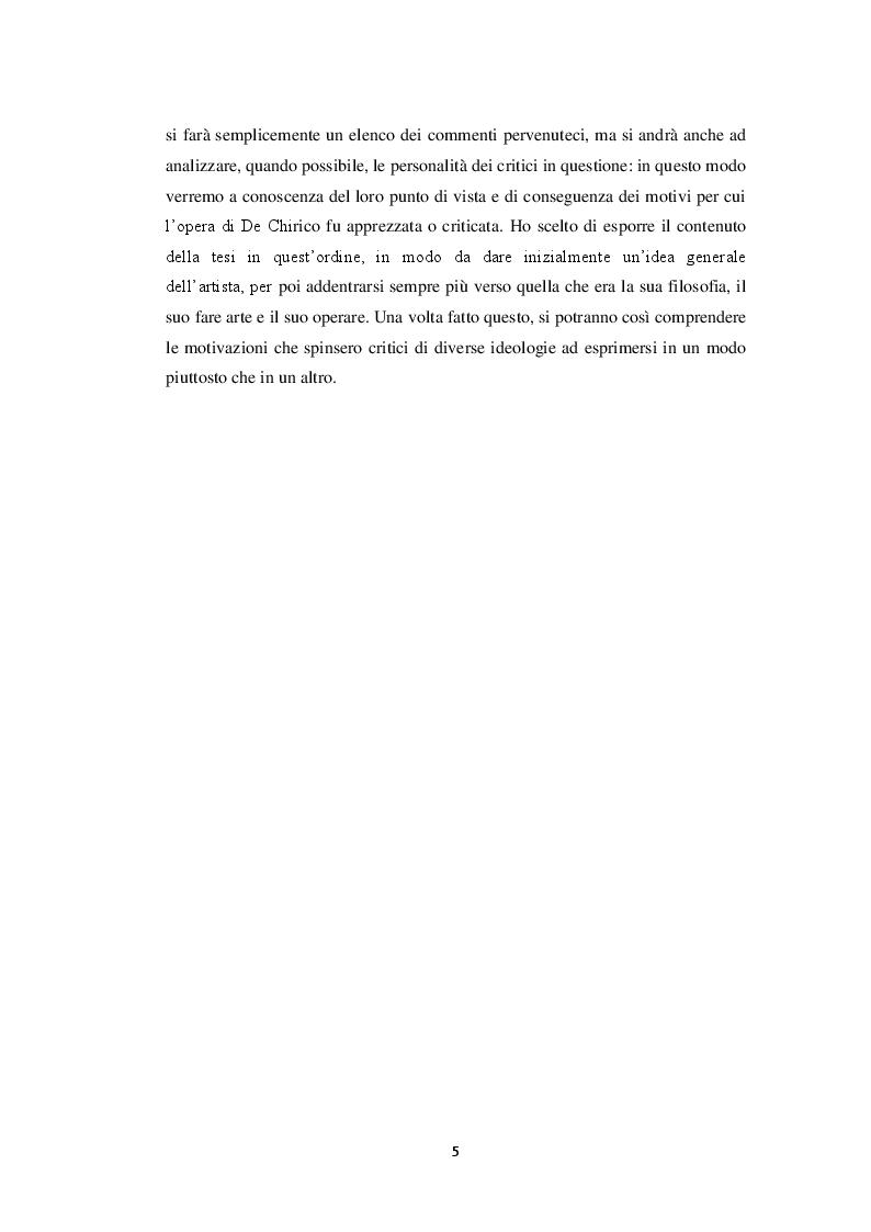 Anteprima della tesi: Storiografia artistica e Giorgio de Chirico: il periodo parigino., Pagina 4
