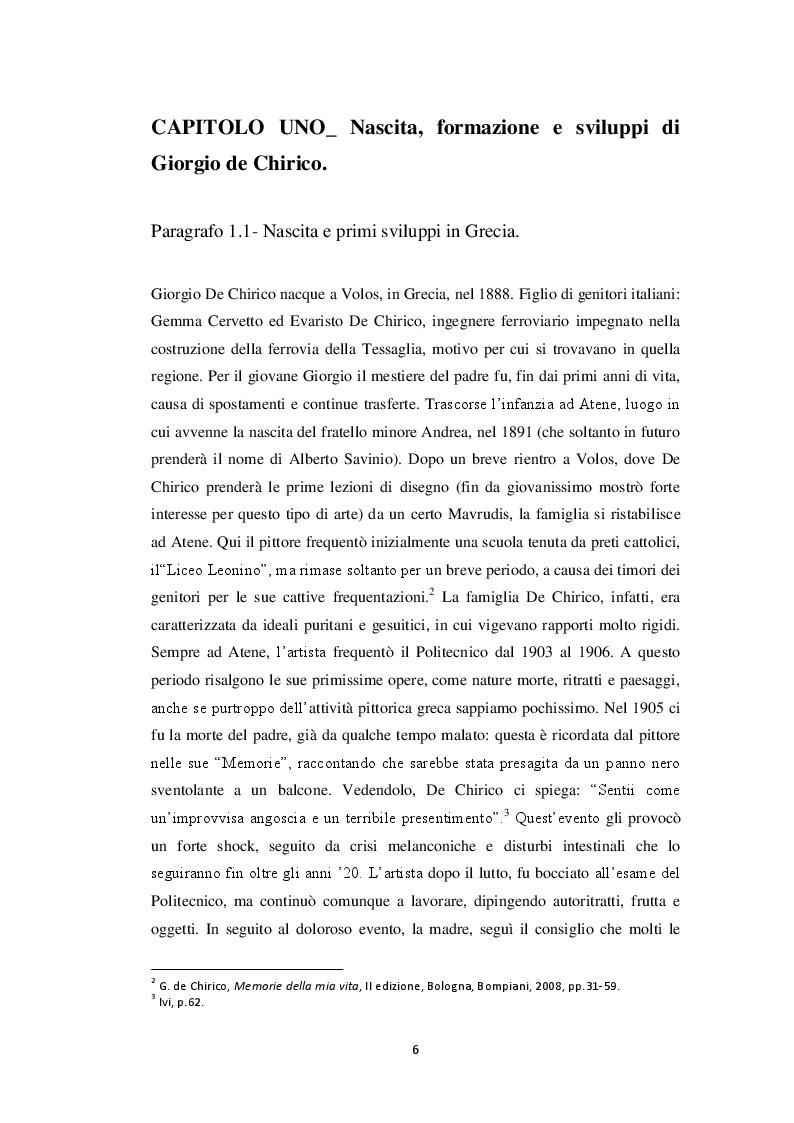 Anteprima della tesi: Storiografia artistica e Giorgio de Chirico: il periodo parigino., Pagina 5