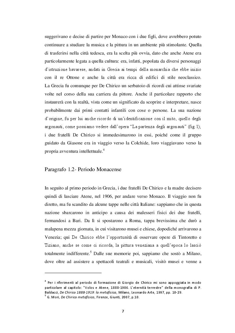 Anteprima della tesi: Storiografia artistica e Giorgio de Chirico: il periodo parigino., Pagina 6