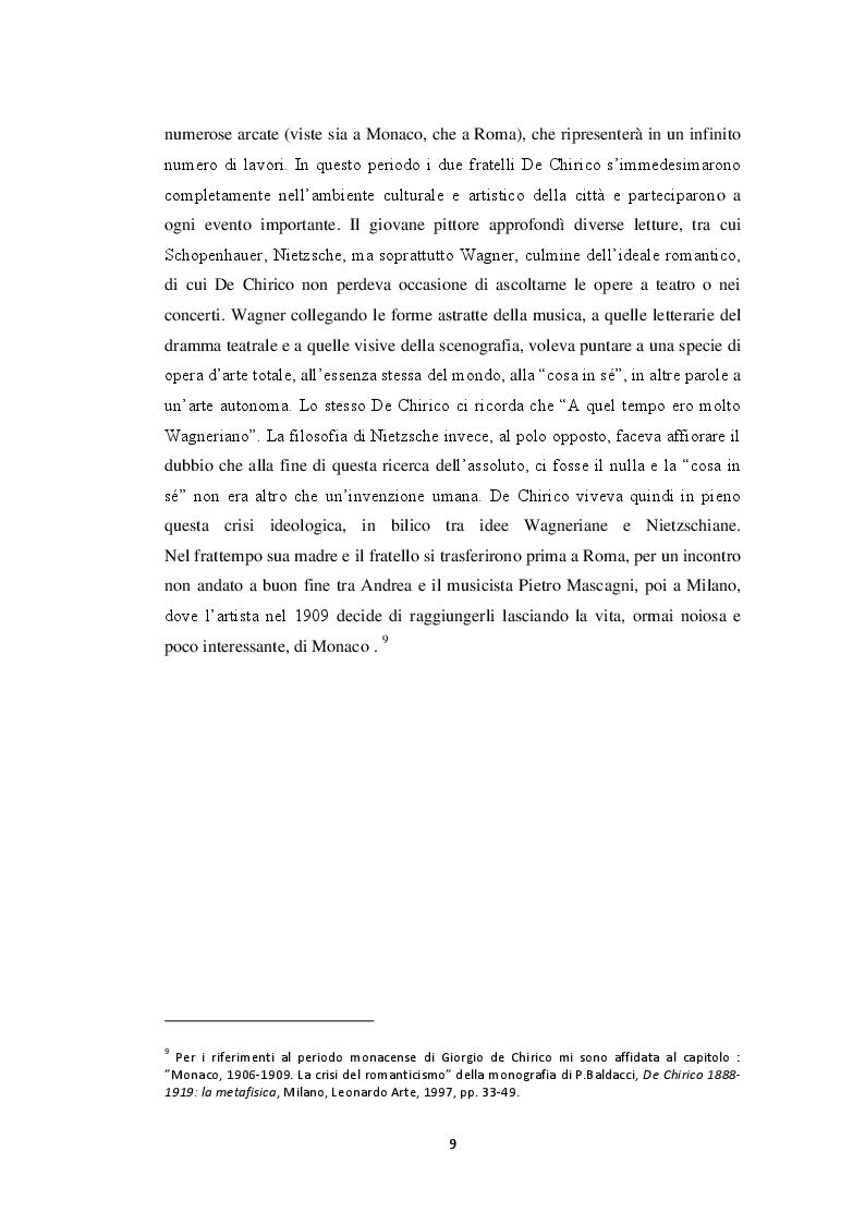 Anteprima della tesi: Storiografia artistica e Giorgio de Chirico: il periodo parigino., Pagina 8