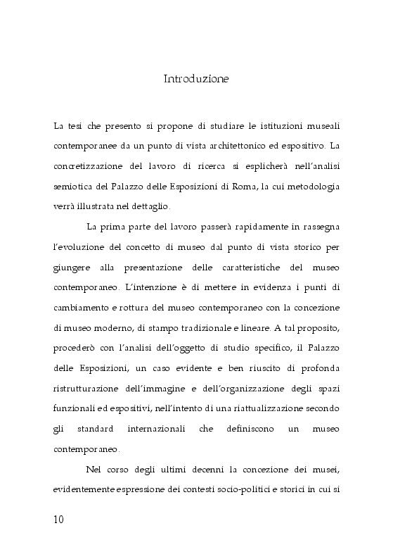 Anteprima della tesi: Trasformazioni museali. Analisi semiotica del Palazzo delle Esposizioni di Roma, Pagina 2