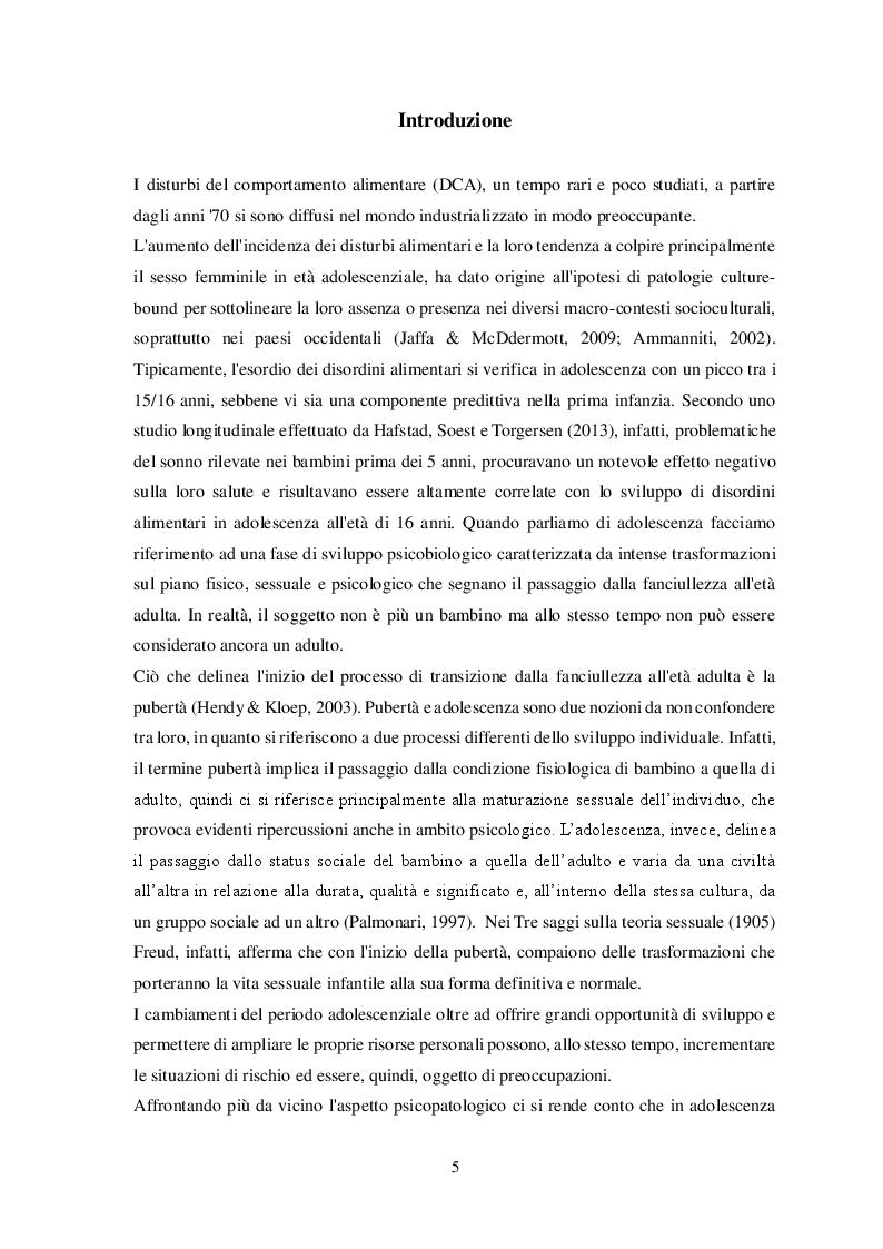 Anteprima della tesi: Disturbi alimentari e Alessitimia: studio empirico in un campione di adolescenti non referred, Pagina 2