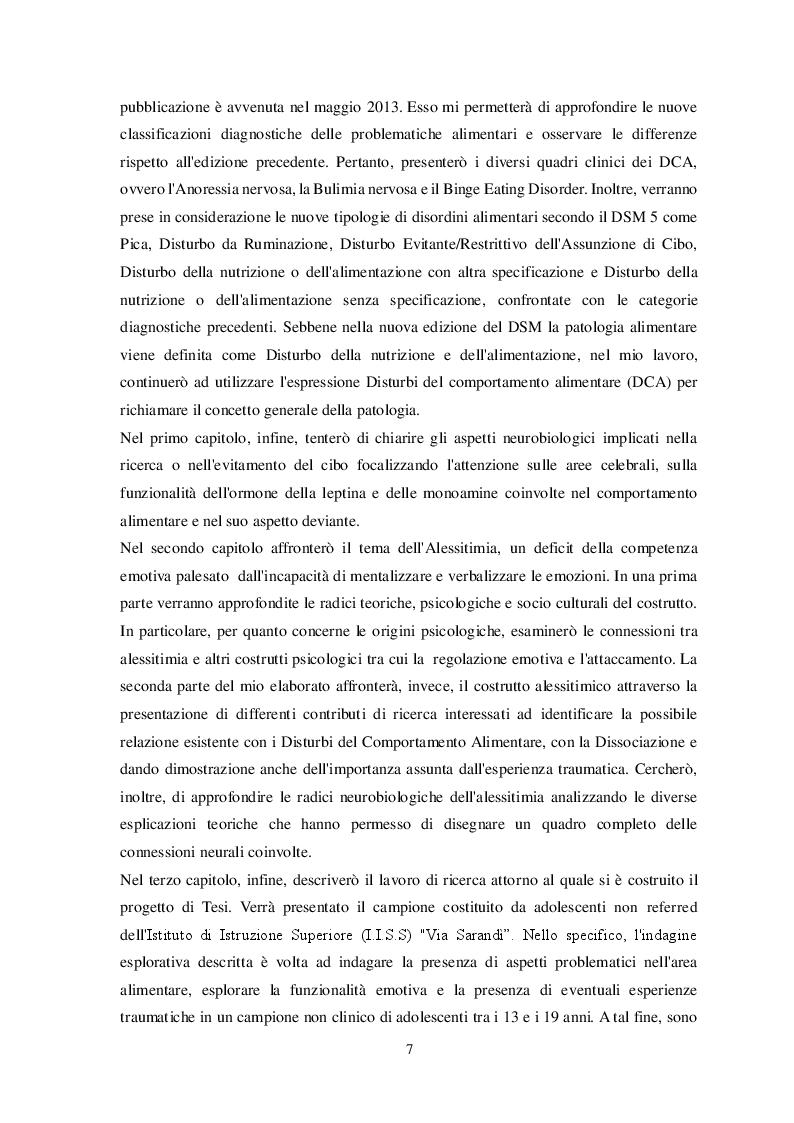 Anteprima della tesi: Disturbi alimentari e Alessitimia: studio empirico in un campione di adolescenti non referred, Pagina 4