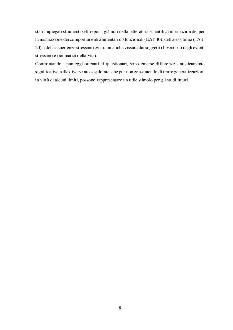 Anteprima della tesi: Disturbi alimentari e Alessitimia: studio empirico in un campione di adolescenti non referred, Pagina 5