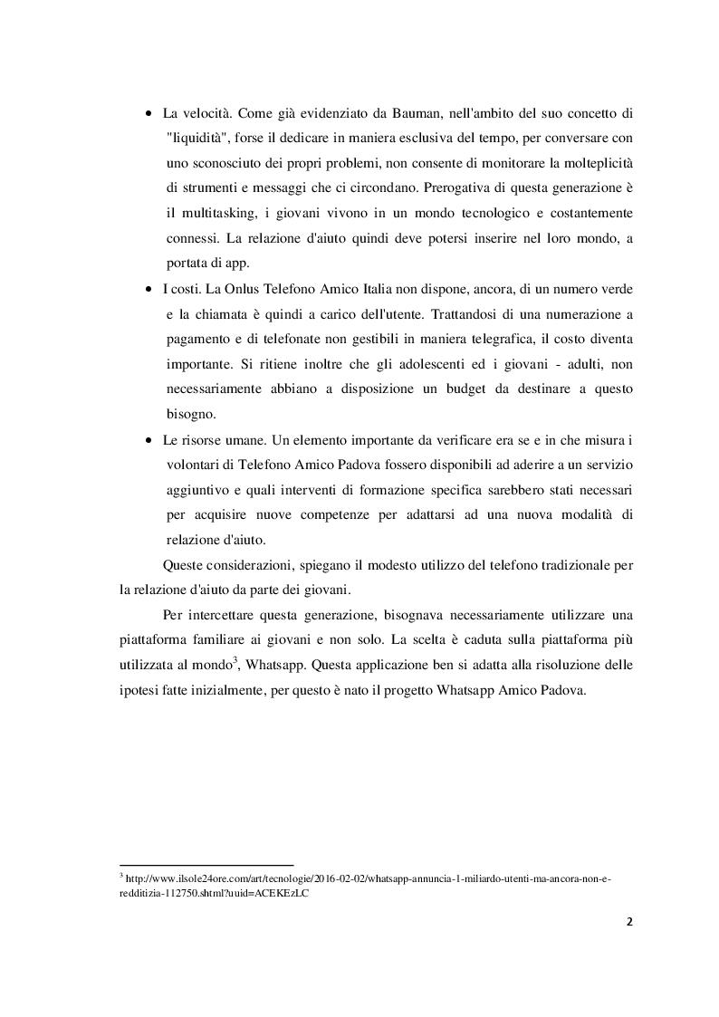 """Anteprima della tesi: Relazione d'aiuto e nuove tecnologie: il progetto """"Whatsapp Amico Padova"""", Pagina 3"""