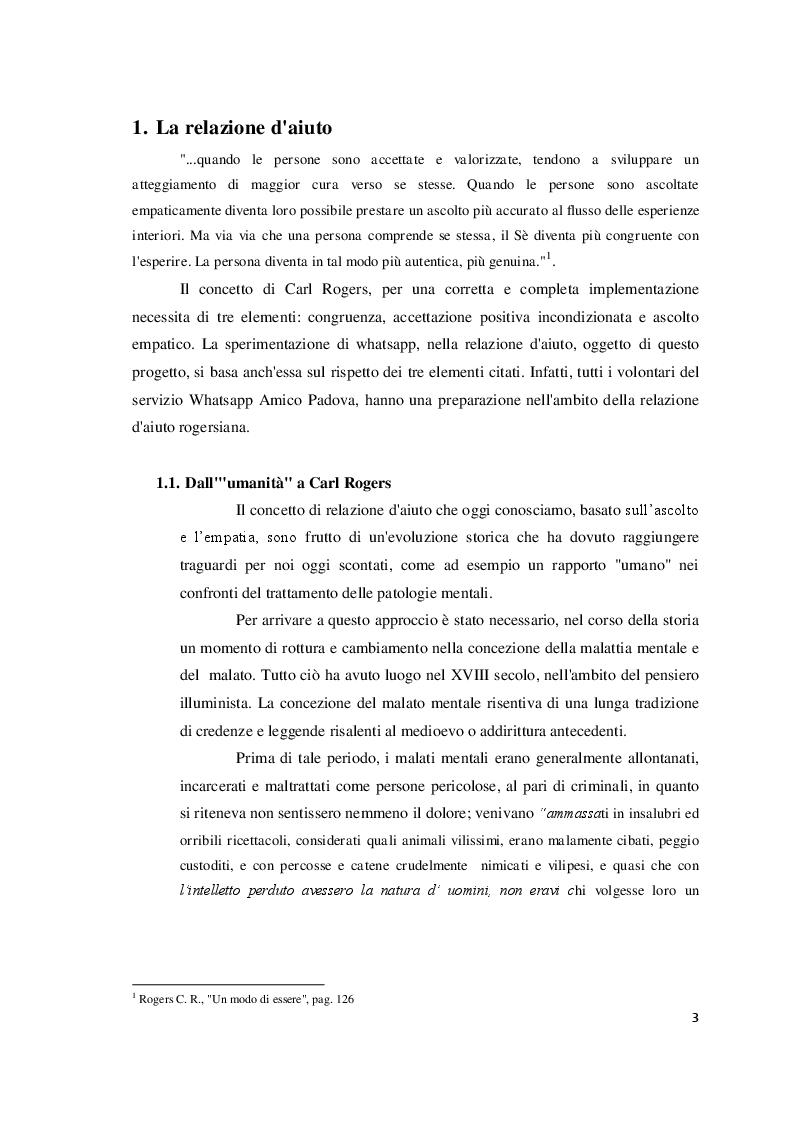 """Anteprima della tesi: Relazione d'aiuto e nuove tecnologie: il progetto """"Whatsapp Amico Padova"""", Pagina 4"""