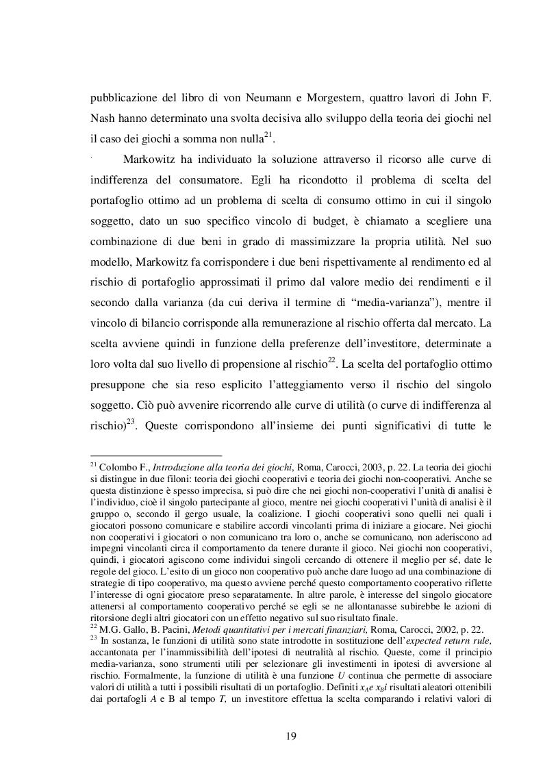 Estratto dalla tesi: La teoria del portafoglio di Markowitz
