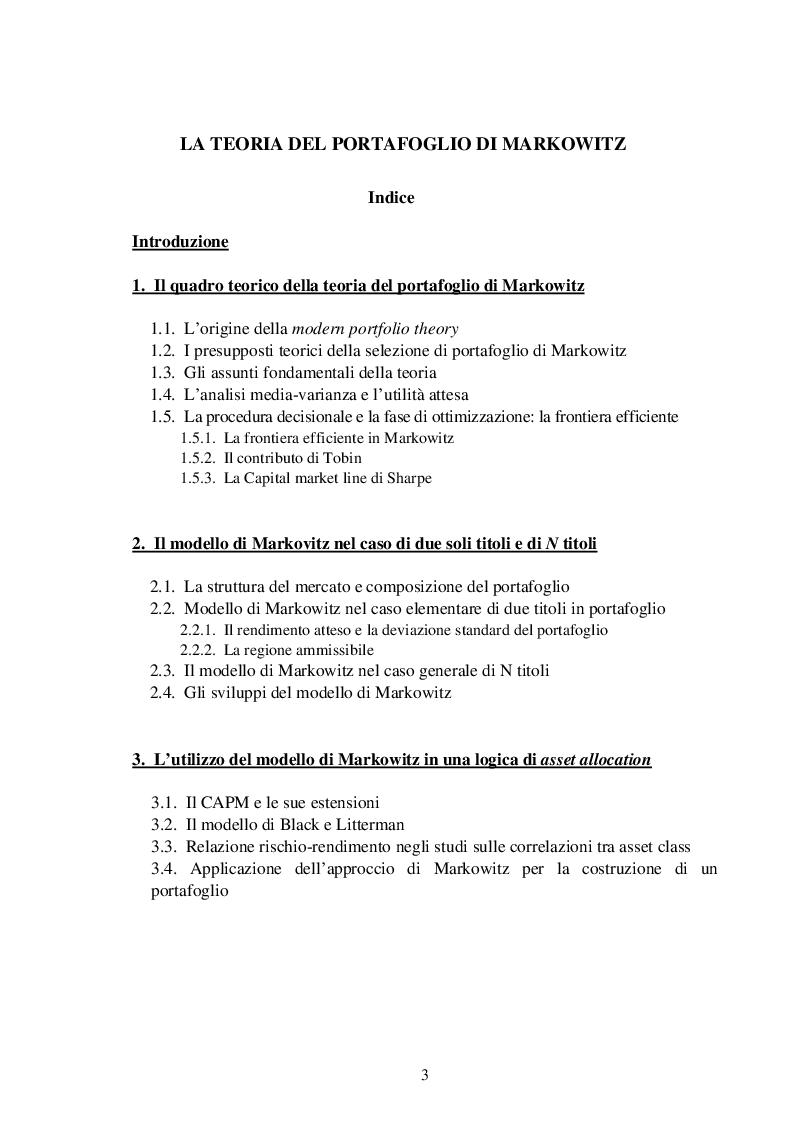06be9df5d6 Indice della tesi: La teoria del portafoglio di Markowitz, Pagina 1. «
