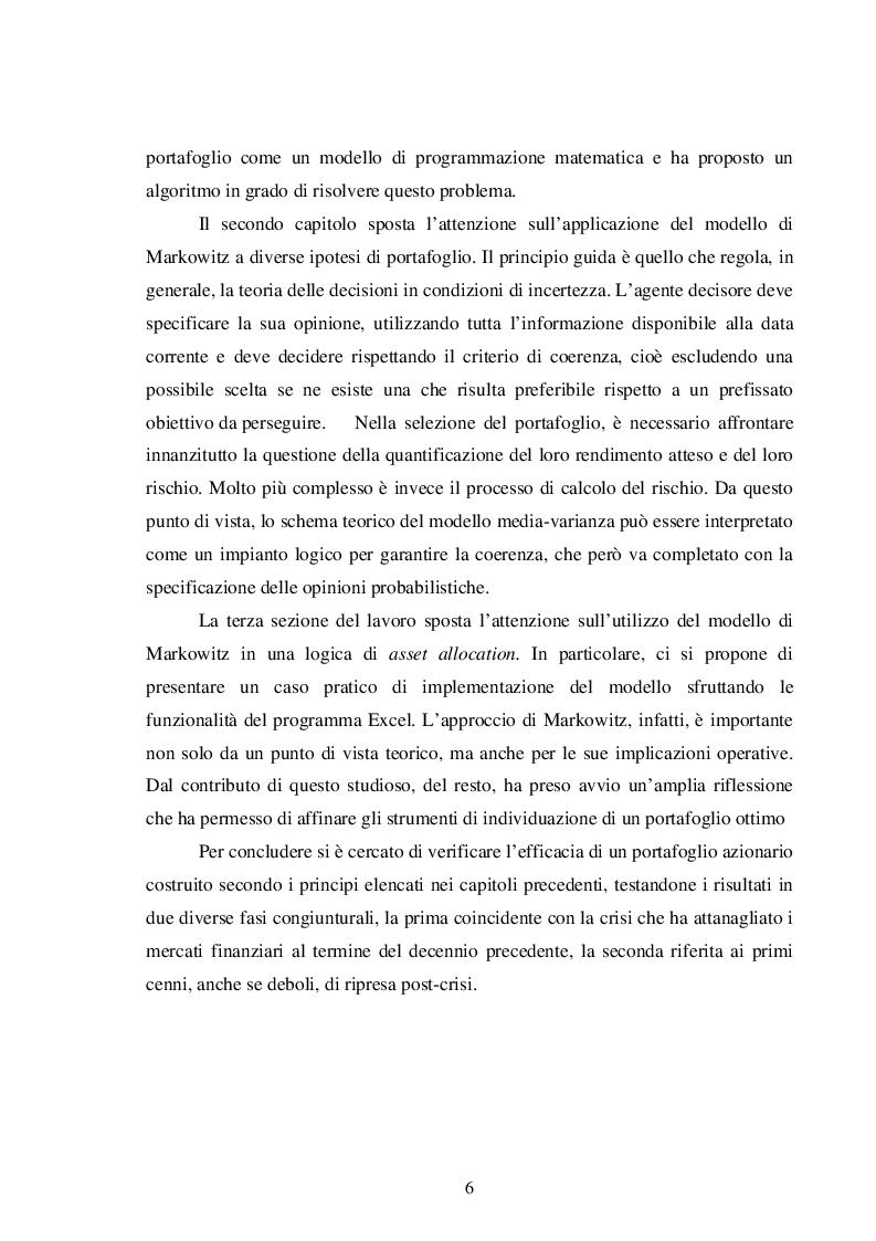 Anteprima della tesi: La teoria del portafoglio di Markowitz, Pagina 3