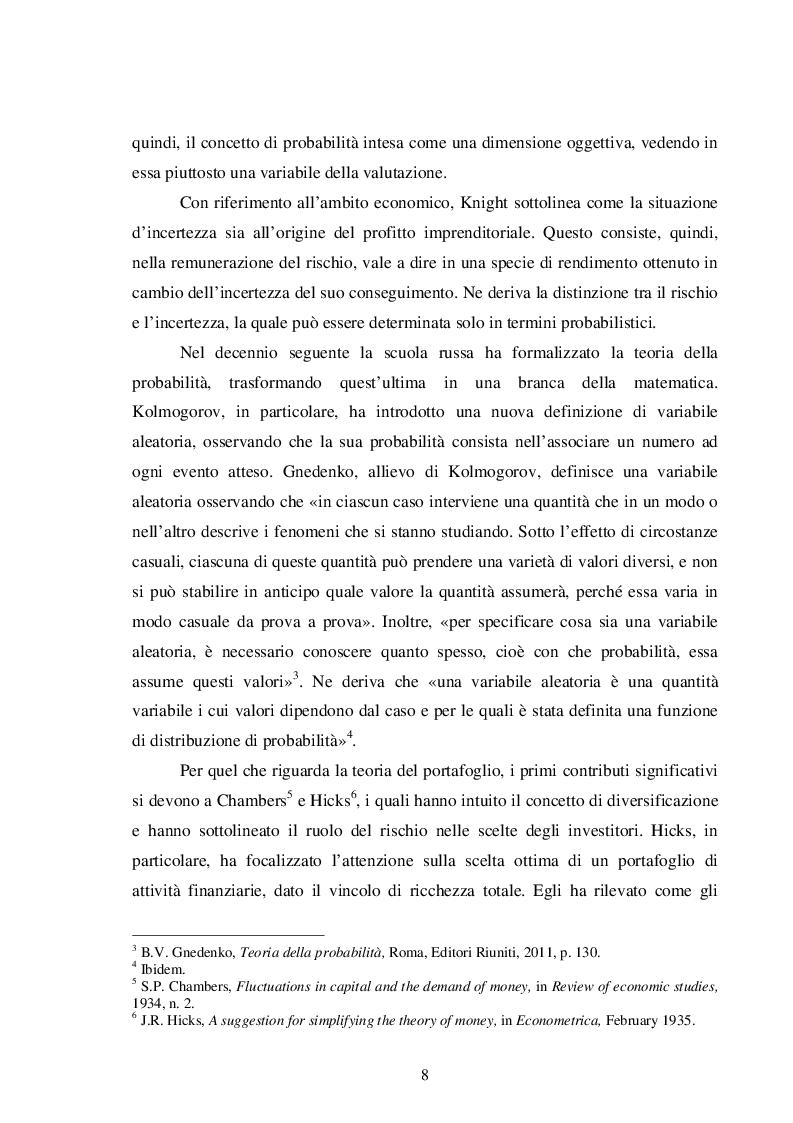 Anteprima della tesi: La teoria del portafoglio di Markowitz, Pagina 5