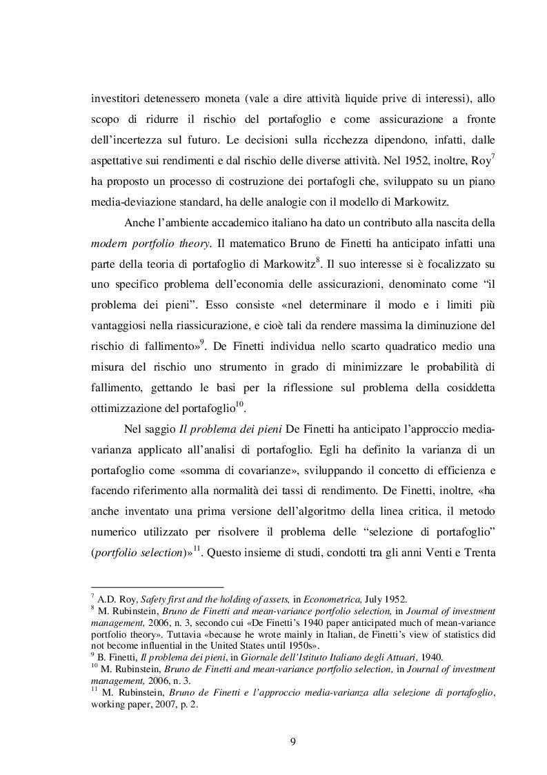 Anteprima della tesi: La teoria del portafoglio di Markowitz, Pagina 6