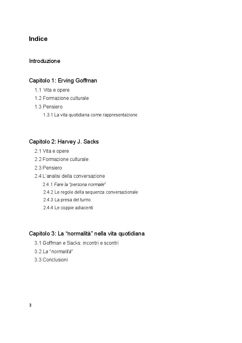 Indice della tesi: L'interazione secondo Erving Goffman e Harvey Sacks, Pagina 1