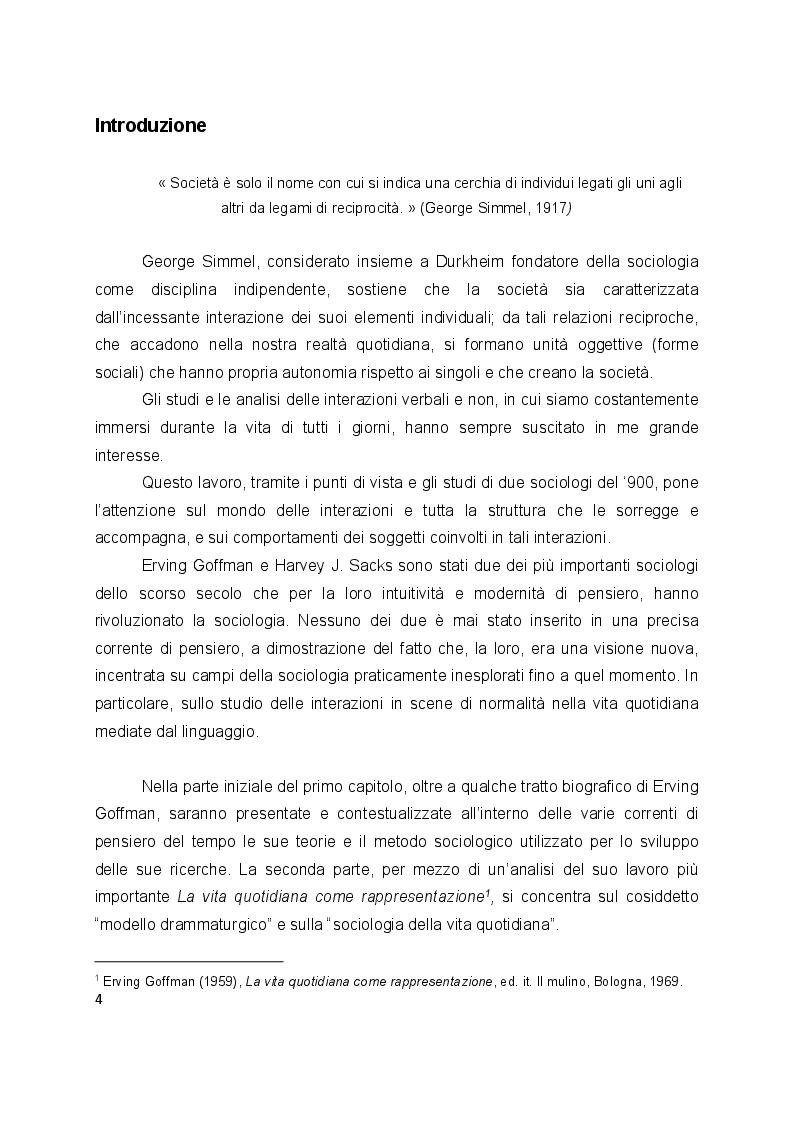 Anteprima della tesi: L'interazione secondo Erving Goffman e Harvey Sacks, Pagina 2