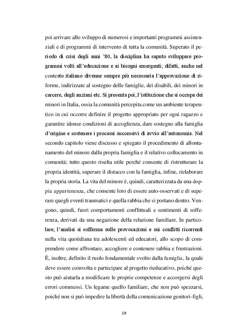 Anteprima della tesi: La relazione educativa nelle comunità per minori e il legame con la famiglia d'origine, Pagina 3