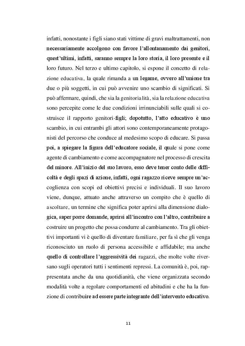Anteprima della tesi: La relazione educativa nelle comunità per minori e il legame con la famiglia d'origine, Pagina 4