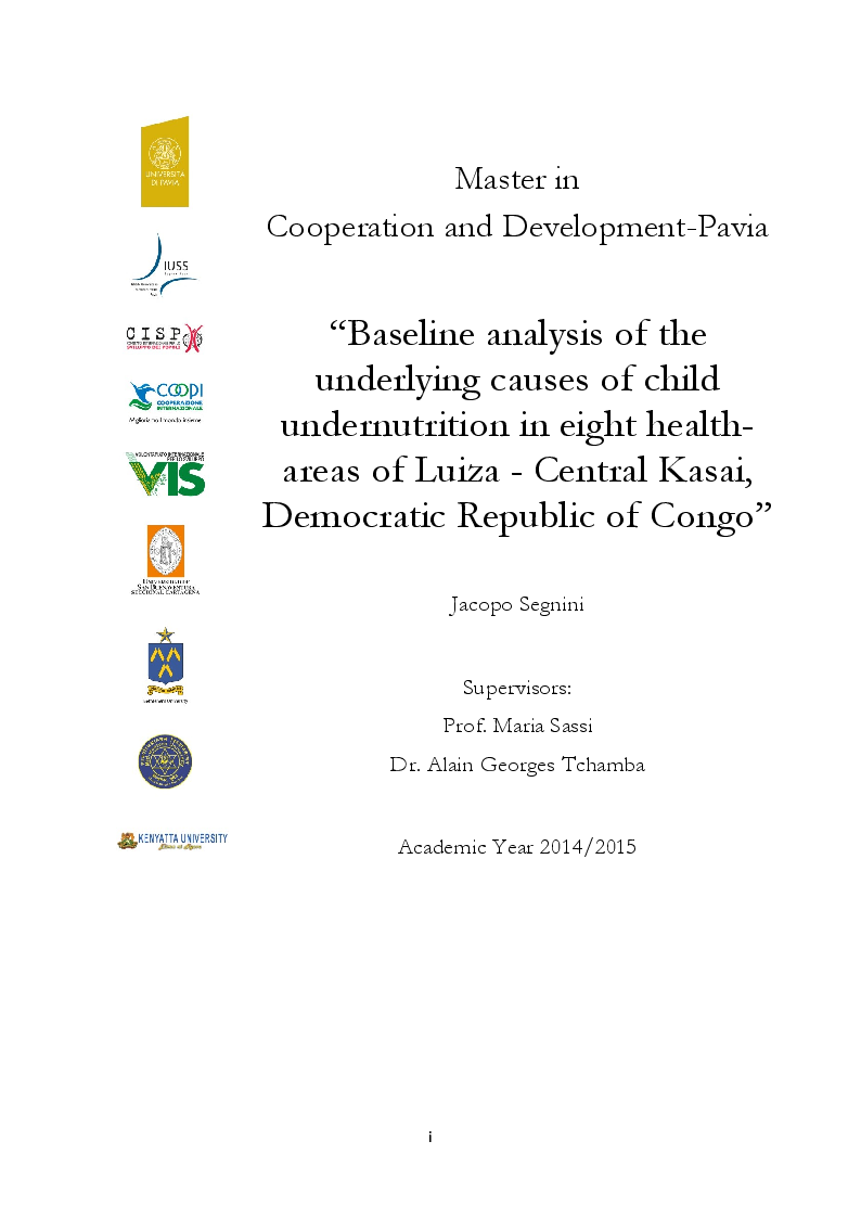 Anteprima della tesi: Baseline analysis of the underlying causes of child undernutrition in eight health-areas of Luisa - Central Kasai, Democratic Republic of Congo, Pagina 1
