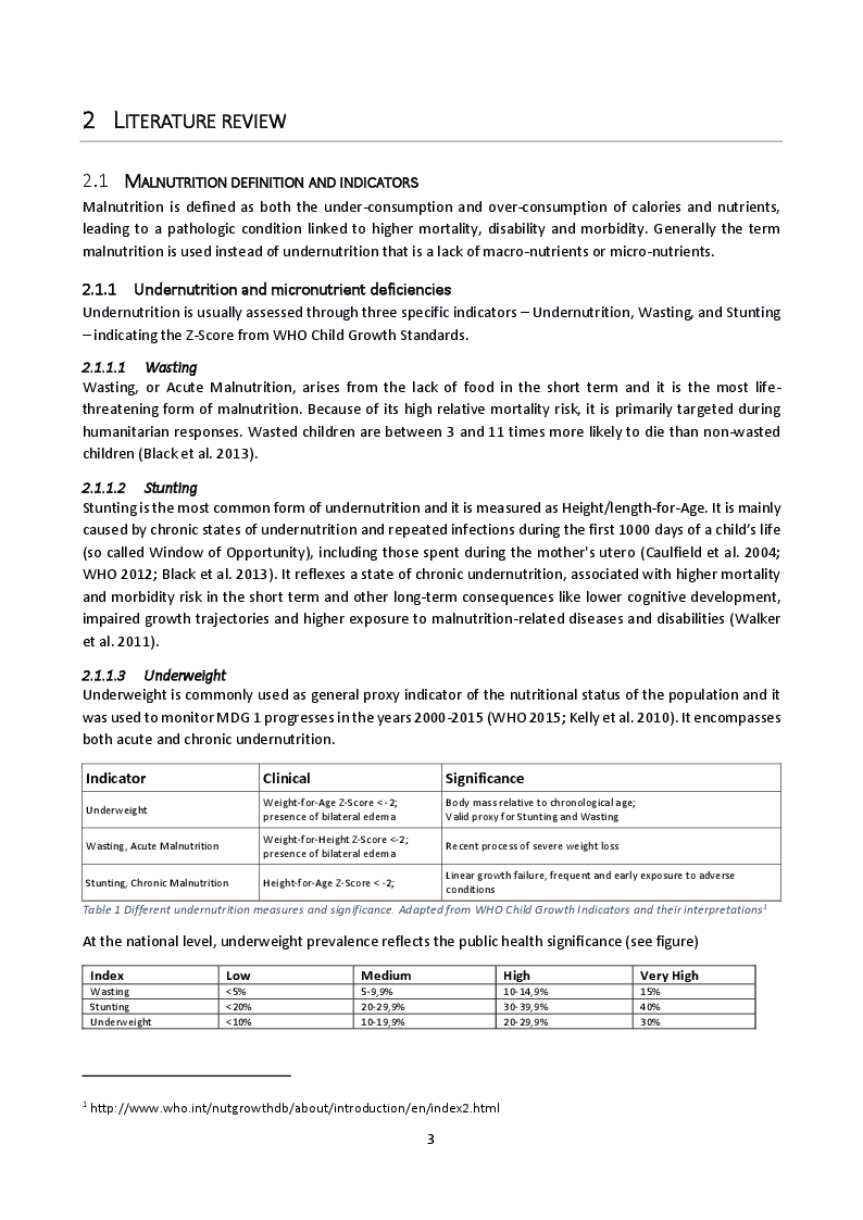 Anteprima della tesi: Baseline analysis of the underlying causes of child undernutrition in eight health-areas of Luisa - Central Kasai, Democratic Republic of Congo, Pagina 5